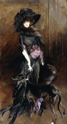 Giovanni Boldini, Marchesa Luisa Casati con un levriero, 1908, collezione privata