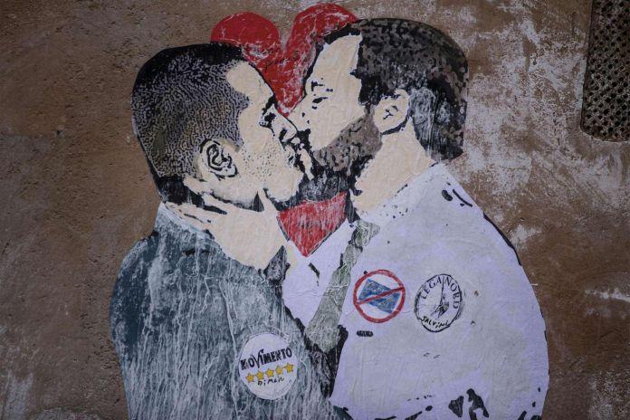 Il bacio tra Salvini e Di Maio firmato Tvboy, Roma, 2018, dettaglio