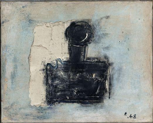"""Jean Fautrier (1898-1964). """"L'encrier (de Jean Paulhan)"""". Huile sur papier marouflé sur toile. 1948. Paris, musée d'Art moderne"""