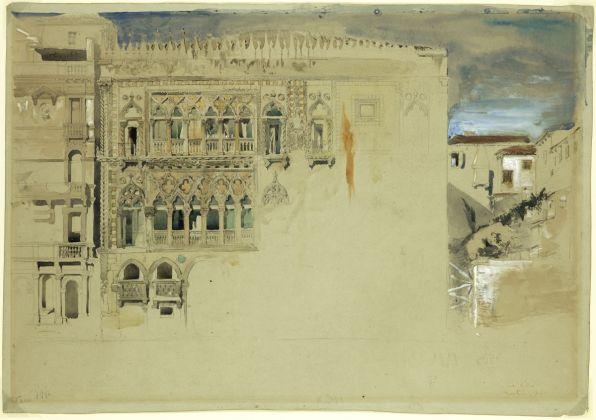 John Ruskin, Ca' d'Oro, 1845, matita, acquerello, tempera su carta grigia, 476 x 330 mm, Ruskin Foundation (Ruskin Library, Lancaster University), Lancaster © Ruskin Foundation, Lancaster