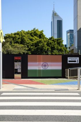 Kimsooja, To Breathe – The Flags, 2018. Public project. Commissioned by Perth Institute of Contemporary Arts (PICA) with the support of Wesfarmers Arts. Courtesy Perth Institute of Contemporary Arts (PICA). Photo Alessandro Bianchetti