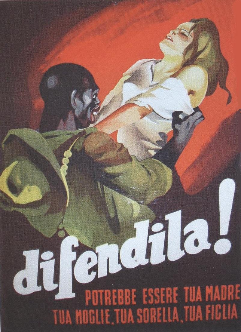 Manifesto di propaganda fascista, disegnato per il regime dall'illustratore Gino Boccasile