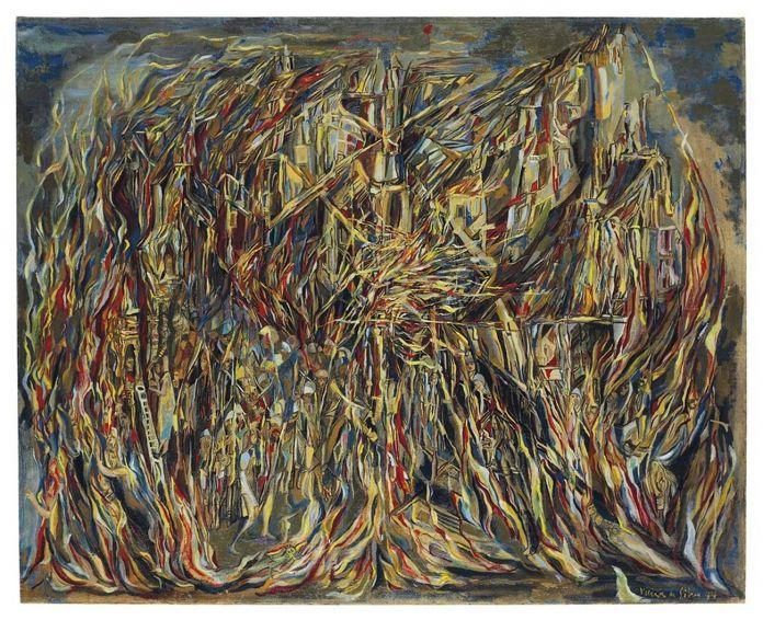 Maria Helena Vieira Da Silva, L'incendie I, 1944, £ 2.048.750 (courtesy of Christie's Images Limited 2018 ©)