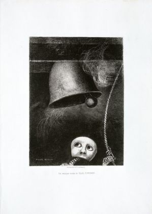 Odilon Redon A masque playing the funeral bell, 1882