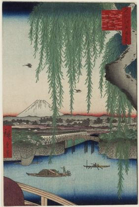 Utagawa Hiroshige, Il ponte di Yatsumi, Serie Cento vedute di luoghi celebri di Edo, 1856, ottavo mese, silo