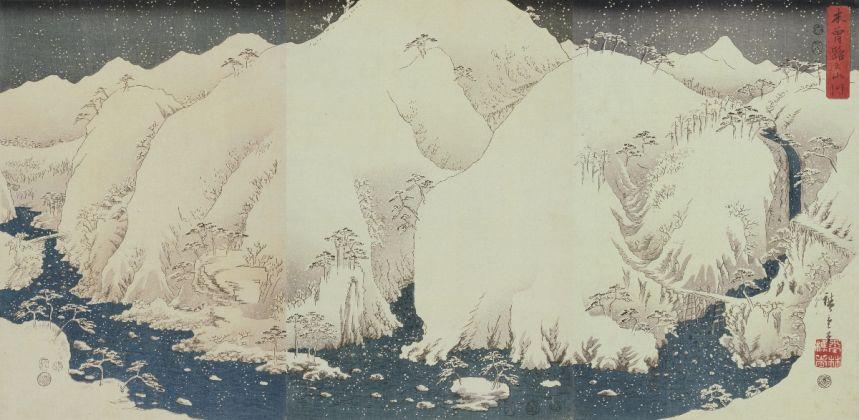 Utagawa Hiroshige, Monti e fiumi lungo la strada Kiso, 1857, trittico di ōban, silografia policroma, Nakau Collection