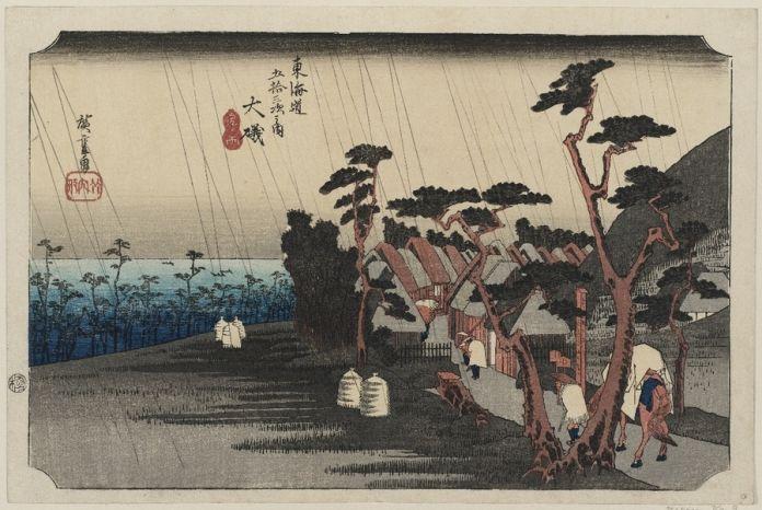 Utagawa Hiroshige, Oiso. Pioggia delle lacrime di Tora [del ventottesimo giorno del quinto mese], 1833-34