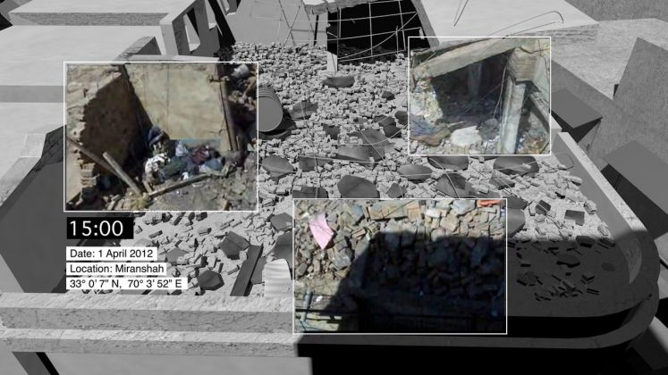 A composite image merges news footage of a home destroyed in a drone strike on Miranshah, North Waziristan, Pakistan together with Forensic Architecture's 3D modelling... Image Forensic Architecture, 2016