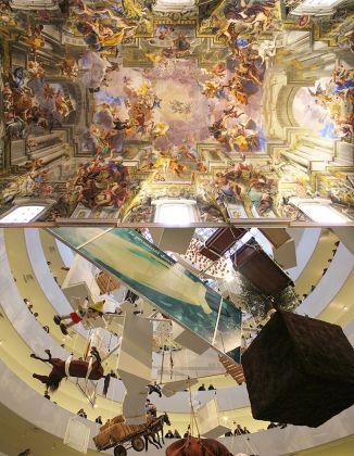 Andrea Pozzo, Gloria di Sant'Ignazio, 1685. Chiesa di Sant'Ignazio di Loyola, Roma _ Maurizio Cattelan. All. Exhibition view at Solomon R. Guggenheim Museum, New York 2011