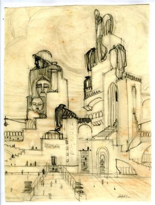 Antonio Sant'Elia, Monumento celebrativo di Roma e della sua gloria, 1911. Courtesy Fondazione Massimo e Sonia Cirulli, San Lazzaro di Savena