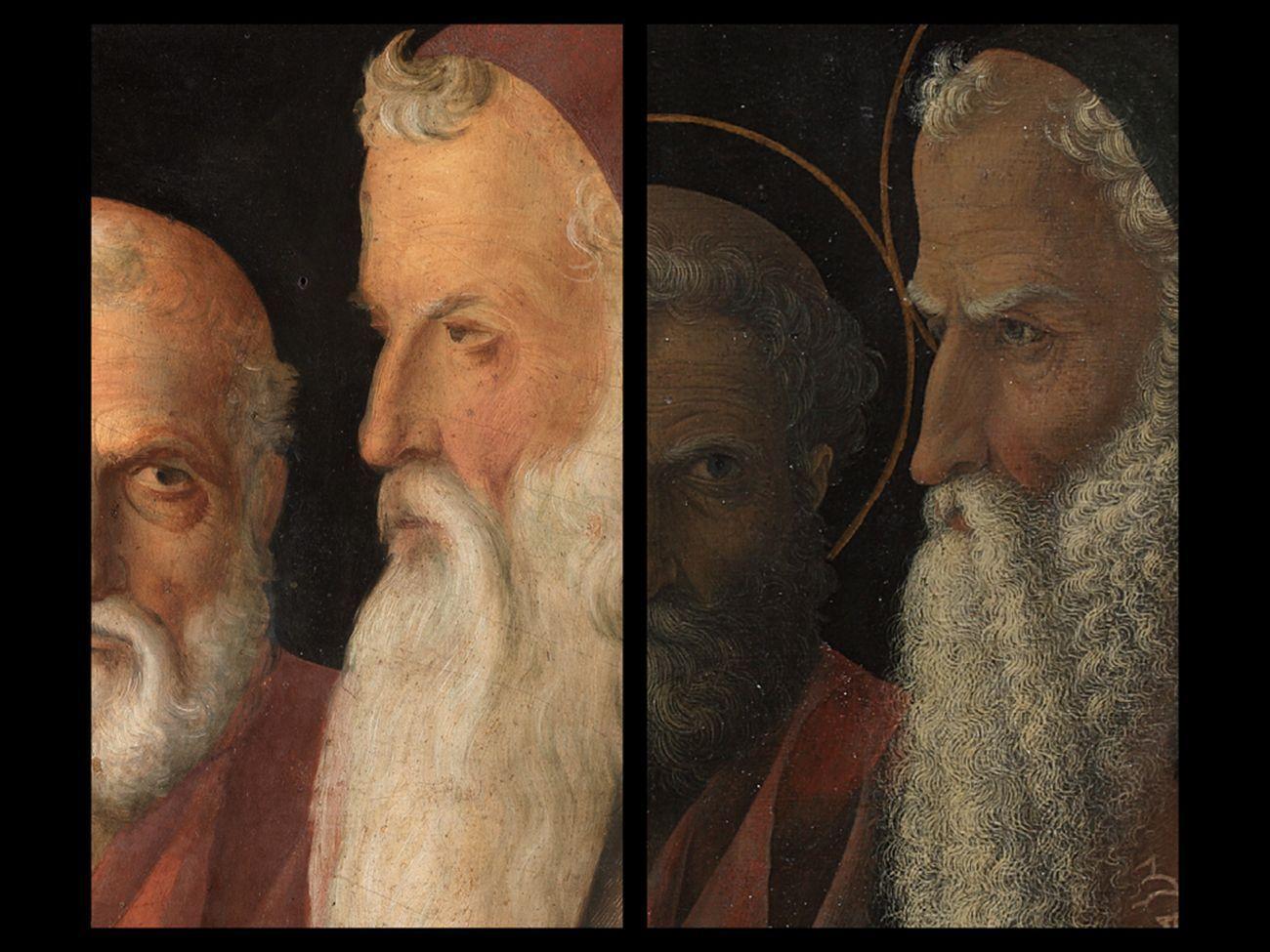Bellini-Mantegna. Presentazione di Gesù al Tempio. Confronto, San Giuseppe e Simeone