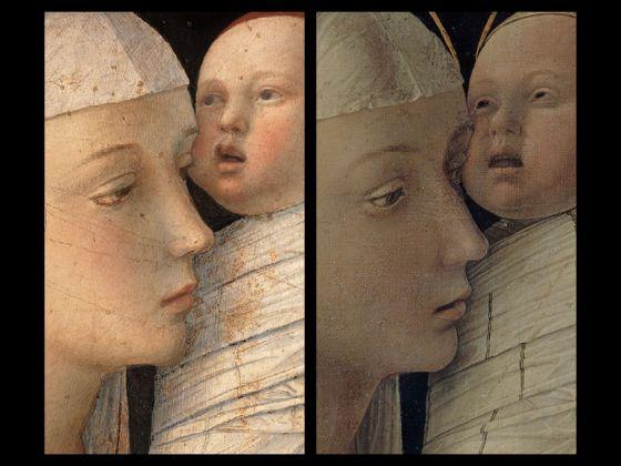Bellini-Mantegna. Presentazione di Gesù al Tempio. Confronto, la Vergine e il Bambino