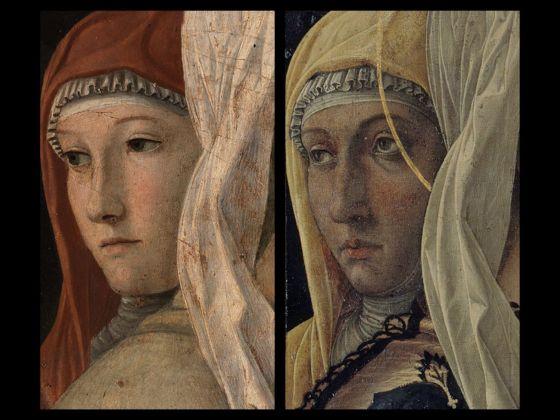 Bellini-Mantegna. Presentazione di Gesù al Tempio. Confronto, le figure femminili