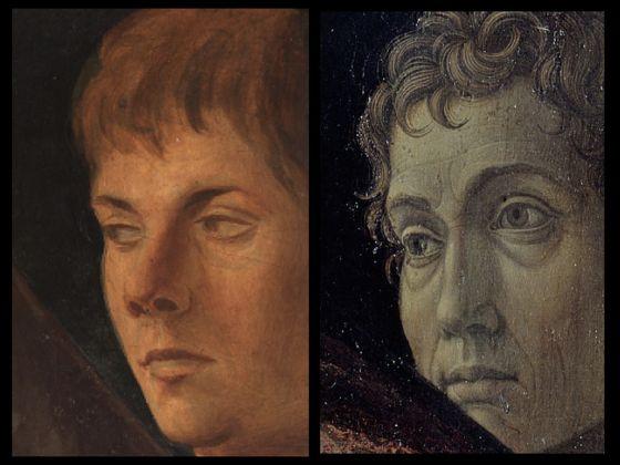 Bellini-Mantegna. Presentazione di Gesù al Tempio. Confronto, le figure maschili
