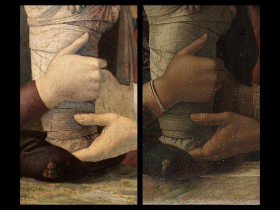 Bellini -Mantegna. Presentazione di Gesù al Tempio. Confronto, le mani della Vergine