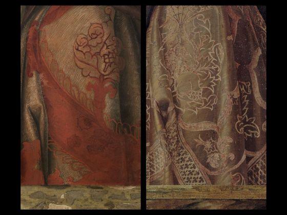 Bellini-Mantegna. Presentazione di Gesù al Tempio. Confronto, le vesti di Simeone