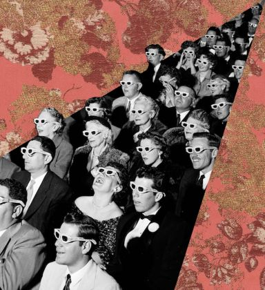 An audience in formal attire and 3D glasses watches the premiere screening of film 'Bwana Devil,' directed by Arch Oboler, the 1st full-length, color 3D (aka 'Natural Vision') motion picture, at the Paramount Theater, Hollywood, California, November 26, 1952. (Photo by J. R. Eyerman/The LIFE Picture Collection/Getty Images)