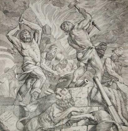 Cornelis Cort, La fucina di Vulcano (Allegoria di Brescia armiera), copia di una delle tele distrutte di Tiziano Vecellio, 1572, Brescia, Musei Civici