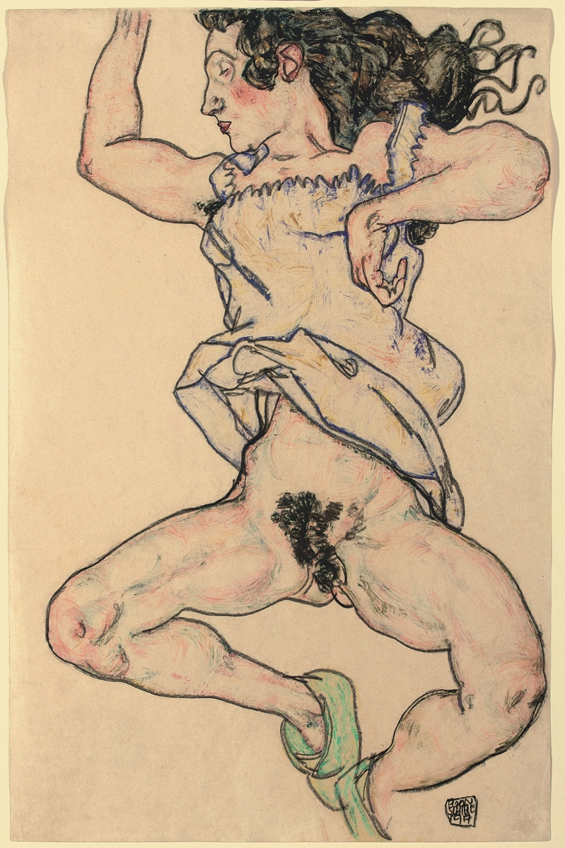 Egon Schiele, Reclining woman with green shoes, 1917, Gouache, watercolour and black crayon on paper, Private Collector, Image courtesy Private Collection