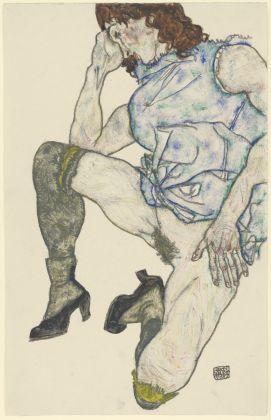 Egon Schiele, Squatting Girl 1917, Gouache and crayon on paper © Staatliche Graphische Sammlung München