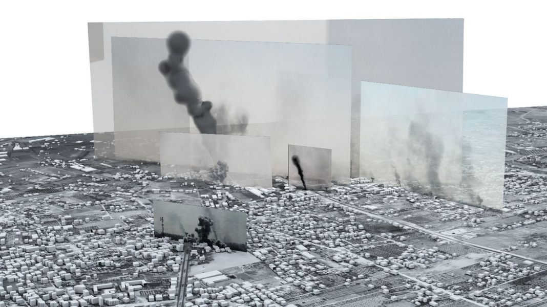 Forensic Architecture located photographs and videos within a 3D model to tell the story of one of the heaviest days of bombardment in the 2014 Israel-Gaza war. The Image-Complex, Rafah Black Friday, Forensic Architecture, 2015