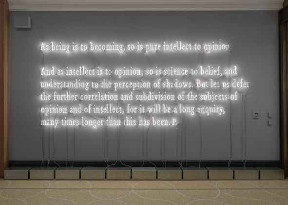 Joseph Kosuth American, born 1945Intellect to Opinion, 2017 Warm white neonObject: H: 173.5 × W: 422.9 cmCourtesy of the artist© 2018 Joseph Kosuth VEX.2018.1.4