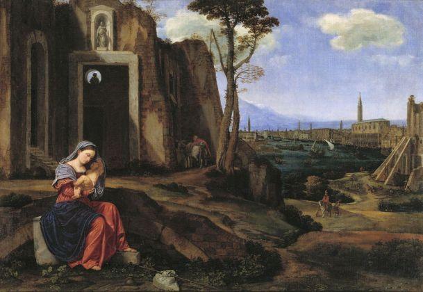 Giovan Girolamo Savoldo, Riposo nella fuga in Egitto con la veduta di Riva degli Schiavoni a Venezia, c. 1527, Collezione privata, olio su tela