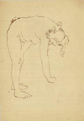Giuseppe Capogrossi, Nudino piegato con la mano in terra, 1941