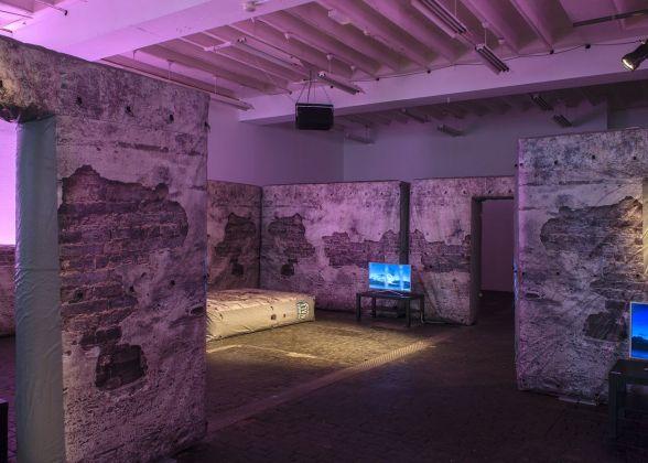Hannah Black, Bonaventure & Ebba Fransén Waldhör. Set for NXIETIN, 2018. Exhibition view at Centre d'Art Contemporain Genève, 2018. Courtesy of the artists. Photo Charlotte Krieger