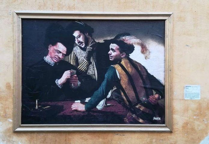 I Bari di Caravaggio rivisti dall'artista Sirante