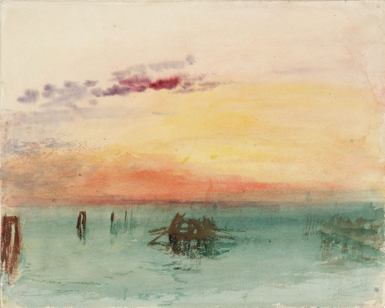Joseph Mallord William Turner, Venice. Looking across the Lagoon at Sunset, 1840. Tate