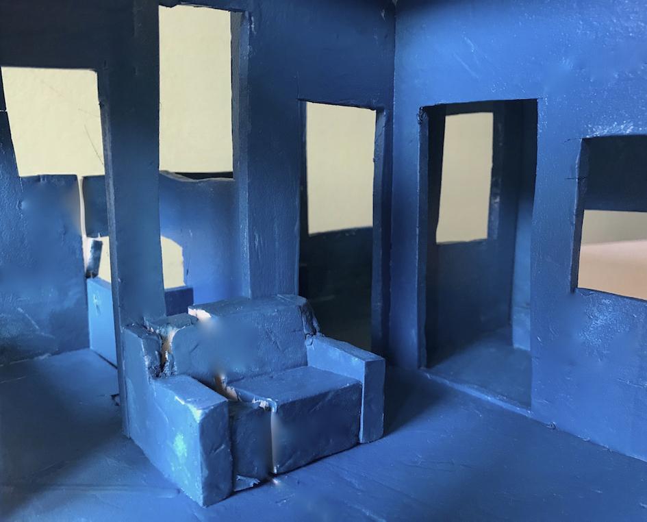 Krijn De Koning, Rendering del progetto Opera per Alcantara (Sedia blu) (Work for Alcantara, Blue chair) per la mostra Nove viaggi nel tempo, Palazzo Reale