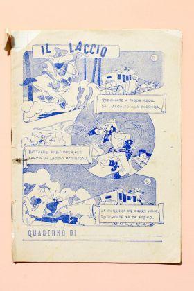 La copertina a fumetti del quaderno di italiano di un bambino di seconda elementare, anni '40