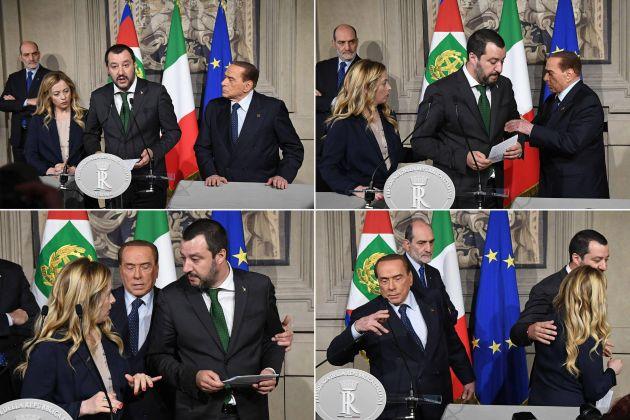 Le foto di Berlusconi che si prende la scena a sorpresa, dopo le Consultazioni al Quirinale
