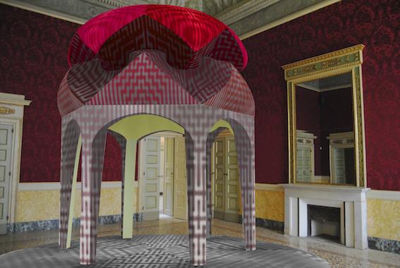 Li Shurui, Rendering del progetto Padiglione di preghiera (Prayer Pavilion) per la mostra Nove viaggi nel tempo, Palazzo Reale