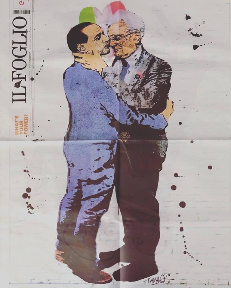 Mattarella a Berlusconi si baciano sulla copertina de Il Foglio. Un'opera di Tvboy