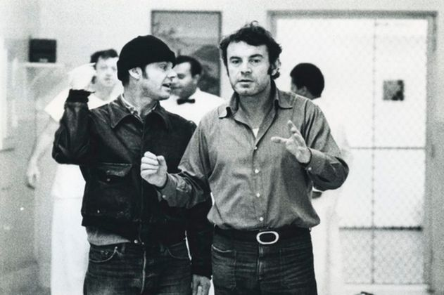 Miloš Forman e Jack Nicholson sul set di Qualcuno volò sul nido del cuculo (1975)