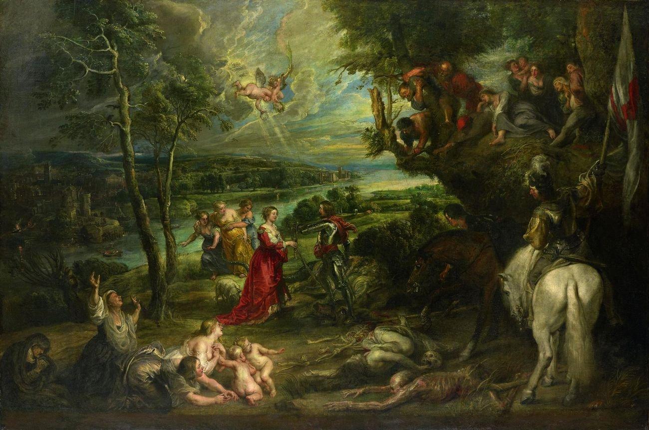 Peter Paul Rubens, Vista con San Giorgio e il drago, 1630-35. Hampton Court, Royal Collection
