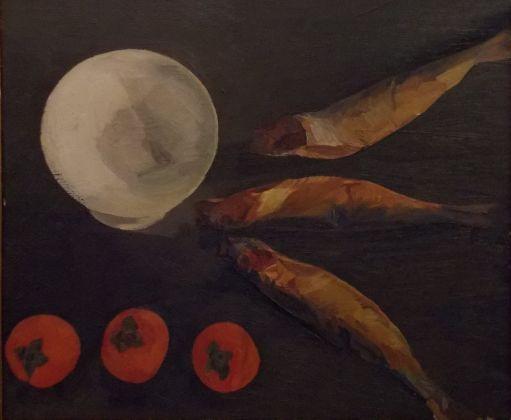 Roberto Melli, Natura morta con alzata, arringhe e cachi, 1947