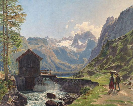 Rudolf von Alt, La vetta del Dachstein dal Lago Gosau, 1840. Albertina Museum, Vienna