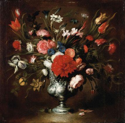 Stefano Camogli, Vaso di fiori con peonie e iris, collezione privata