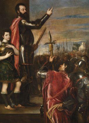 Tiziano, Allocuzione di Alfonso d'Avalos alla truppe, 1540-41. Hampton Court, Royal Collection