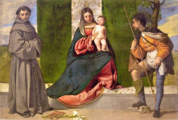 Tiziano Vecellio, Madonna col Bambino tra Sant'Antonio da Padova e San Rocco, c. 1510, Madrid, Museo del Prado, olio su tela