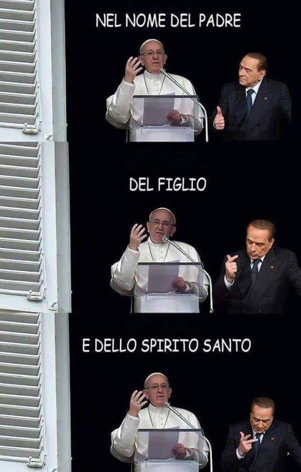 Uno dei meme che prendono in giro sui social lo show di Berlusconi