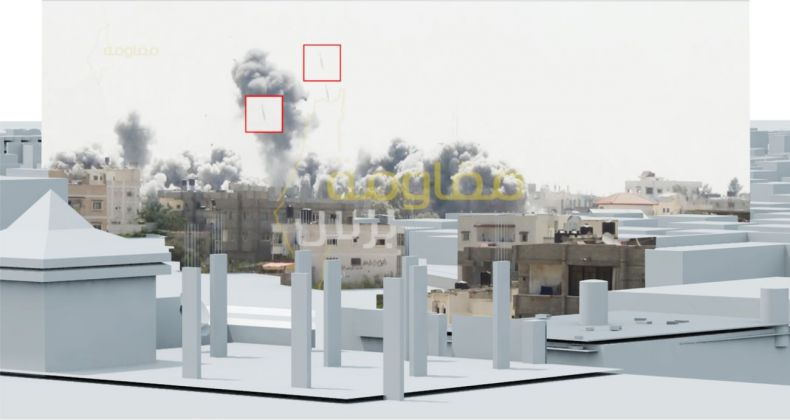 Video still showing two bombs in mid air fractions of a second before impact in the Al Tannur neighbourhood in Rafah, Gaza on 1 August 2014. Image Forensic Architecture, 2015