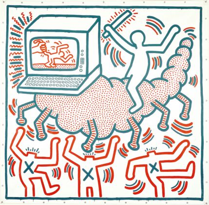 Keith Haring, Untitled, 1983. Vinyl paint on vinyl tarp. Collection of KAWS © The Keith Haring Foundation
