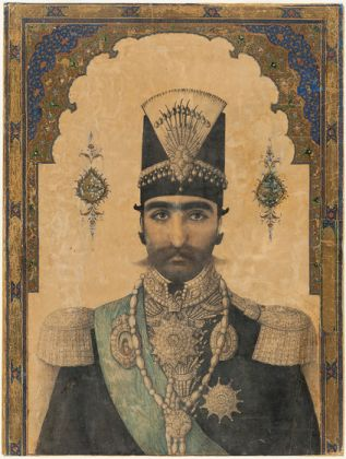 Early Portrait of Nasir al-Din Shah (r. 1848–96), c. 1850, ink, opaque watercolor, and gold on paper, 24 × 16 in., Los Angeles County Museum of Art, purchased with funds provided by the Nasli M. Heeramaneck Collection, gift of Joan Palevsky, photo © Museum Associates/LACMA