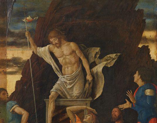 Andrea Mantegna, Resurrezione di Cristo, 1492-93 circa tempera e oro su tavola 48,5 x 37,5 cm. Bergamo, Accademia Carrara