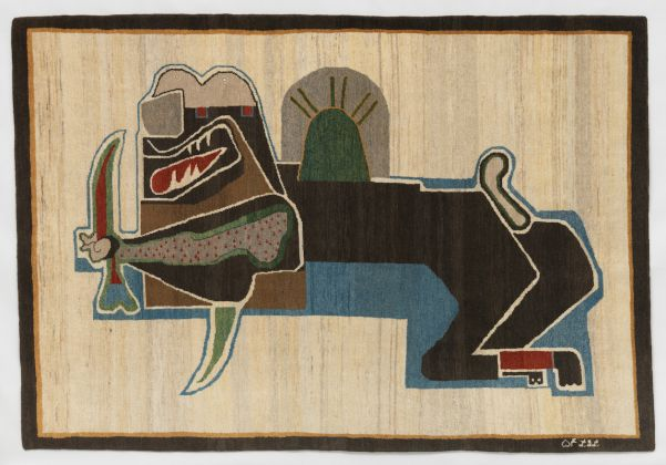Parviz Tanavoli, Lion and Sword III, 1976, Bijar weave, 62 1/4 × 91 in., Los Angeles County Museum of Art, gift of Hope Warschaw through the 2018 Collectors Committee, courtesy of the artist, © Parviz Tanavoli, photo © Museum Associates/LACMA