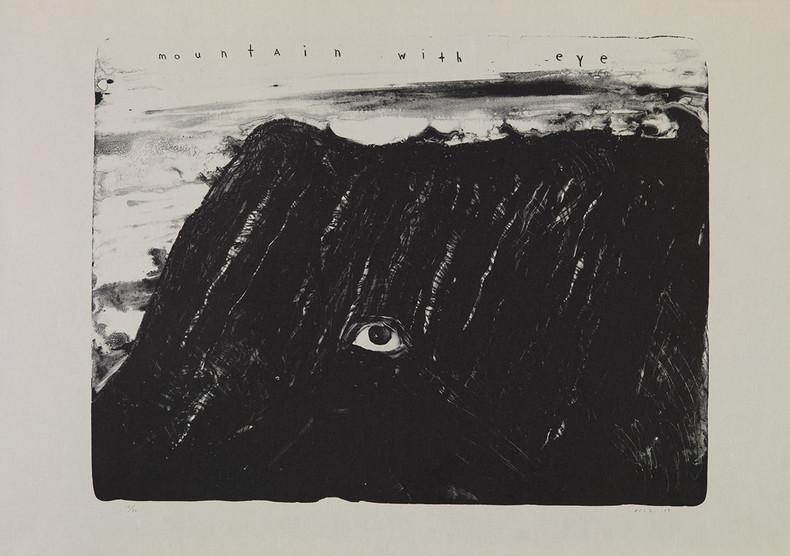 David Lynch, Mountain with Eye , 2009. Lithograph on Japanese paper. Collection Fondation Cartier pour l'art contemporain, Paris. © David Lynch